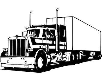 Truck Driver #18 Trucker Big Rigg 18 Wheeler Semi Tractor Trailer Cab Flat Bed Company Trucking Logo.SVG .EPS .PNG Vector Cricut Cut Cutting