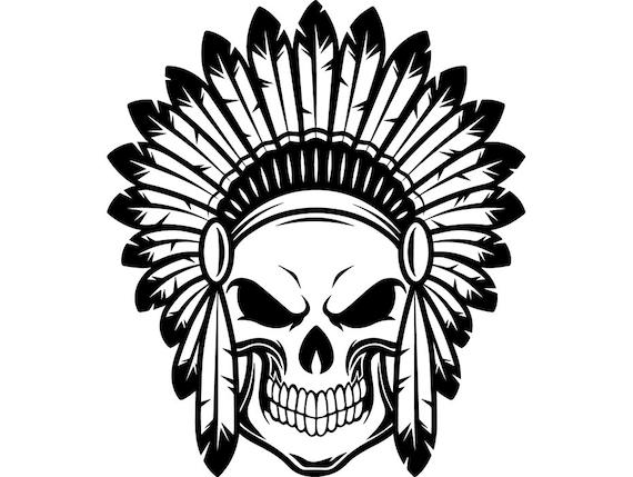 Indian Skull 2 Native American Warrior Headdress Feather Etsy