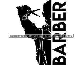 Barber Hair Scissors Comb Shop Barbershop Salon Haircut Cut Hairstyle Shave Silhouette Company Design Logo SVG PNG Clipart Vector Cut File