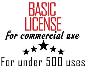 BASIC COMMERCIAL LICENSE For One Digital Product Design For One Person Up To 500 Uses! ExpertOutfit Inc. Artwork Clipart Graphic Licensing!