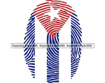 Cuba Cuban Born Finger Print DNA Flag Caribbean Island Country World National Nation Design Element Logo JPG PNG Clipart Vector Cut File
