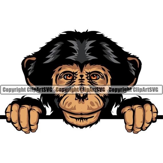 Chimpanzee Monkey Peeking Gorilla Peek-A-Boo Ape Mascot Head Face Wild Zoo Animal Nature Art Design Logo SVG PNG Clipart Vector Cut Cutting
