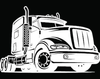 Truck Driver #31 Trucker Big Rigg 18 Wheeler Semi Tractor Trailer Cab Flat Bed Company Trucking Logo.SVG .EPS .PNG Vector Cricut Cut Cutting