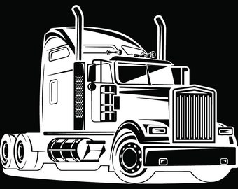 Truck Driver #32 Trucker Big Rigg 18 Wheeler Semi Tractor Trailer Cab Flat Bed Company Trucking Logo.SVG .EPS .PNG Vector Cricut Cut Cutting
