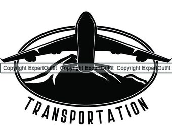Airplane Travel Map Aircraft Plane Flight Air Transport Fly Sky Jet Airline Vacation Route Design Element Logo SVG PNG Vector Clipart Cut