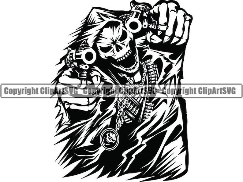 Grim Reaper #9 Skull Death Gun Evil Kill Killer Grim Horror Hell Ghost  Tattoo Skeleton Bone Logo  SVG  PNG Clipart Vector Cricut Cut Cutting