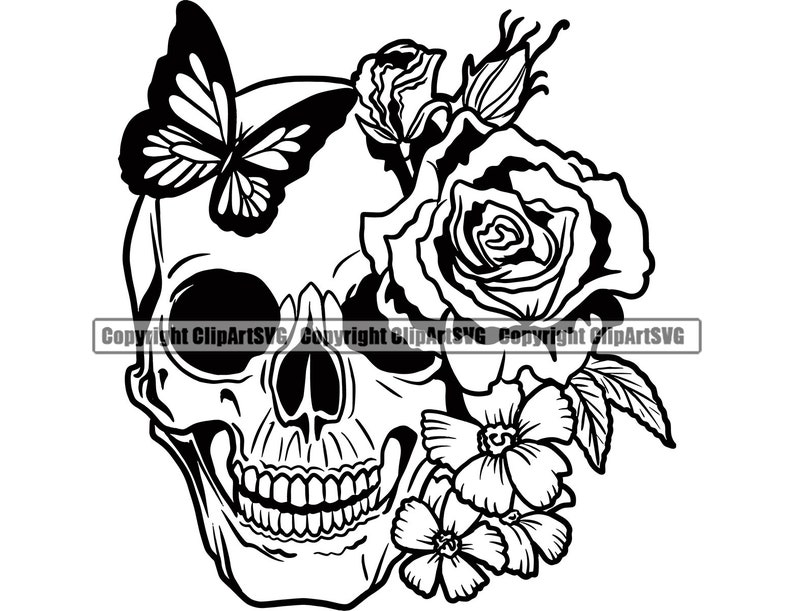 Skull Roses Flowers Butterfly Grin Death Love Dead Head Evil Kill Killer Tattoo Female Woman Design Art Logo SVG PNG Clipart Vector Cut File photo