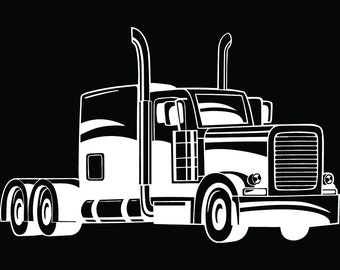 Truck Driver #34 Trucker Big Rigg 18 Wheeler Semi Tractor Trailer Cab Flat Bed Company Trucking Logo.SVG .EPS .PNG Vector Cricut Cut Cutting