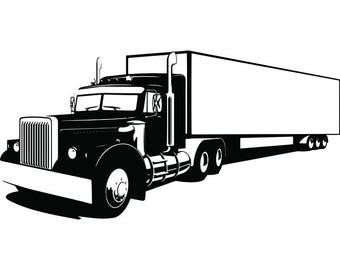 Truck Driver #20 Trucker Big Rigg 18 Wheeler Semi Tractor Trailer Cab Flat Bed Company Trucking Logo.SVG .EPS .PNG Vector Cricut Cut Cutting