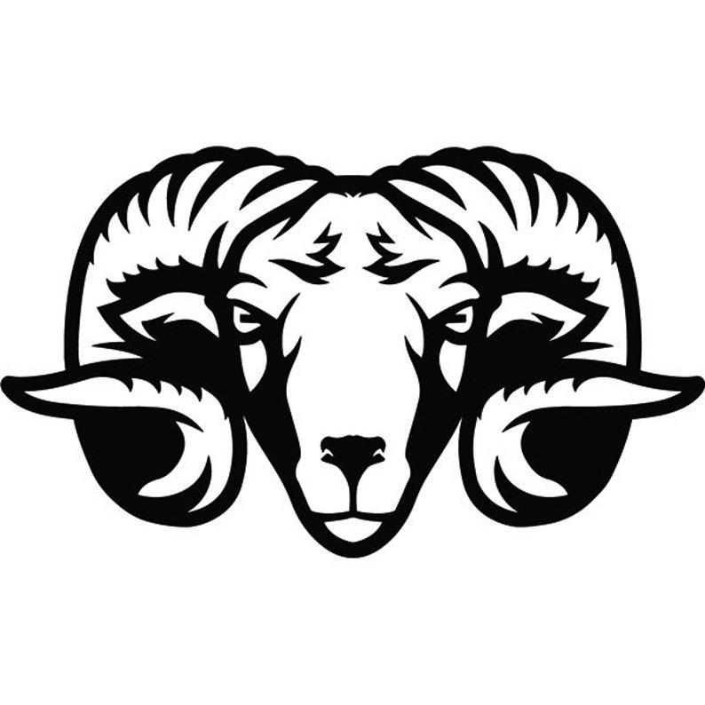 Ram 2 Mascot Head Face Animal Growling Cartoon College High