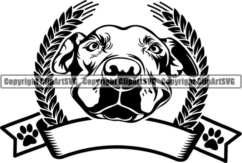 American Pit Bull #72 Dog Paw Puppy Pet Terrier Breed Canine Purebred  Pedigree Ribbon Name Logo  SVG  PNG Clipart Vector Cricut Cut Cutting