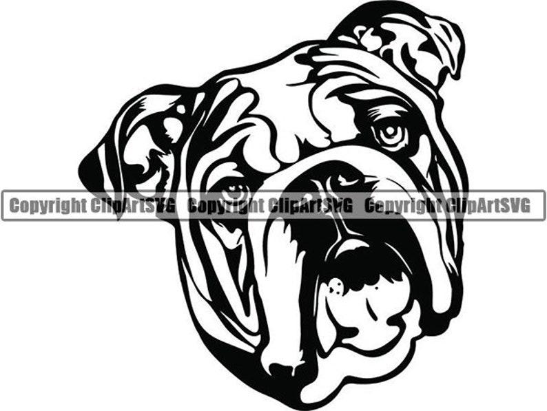 English Bulldog #5 American Mascot Head Pedigree Dog Breed K-9 Animal Pet Hound Logo .SVG .EPS .PNG Clipart Vector Cricut Cut Cutting File photo