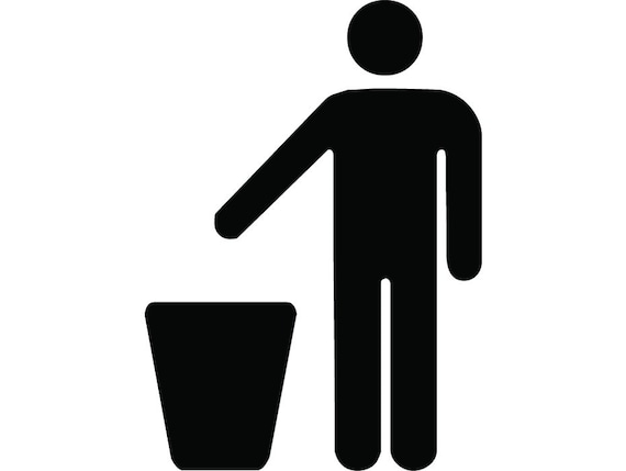 Trash Bin Icon 1 Recycle Dont Litter Clean Garbage Etsy