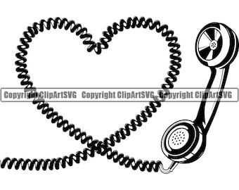 Retro Telephone Cord Heart Love Vintage Classic Old Phone Rotary Dial Call Art Design Concept Logo SVG PNG Vector Clipart Cut Cutting File