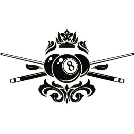 Billiards Pool Logo 15 Que Stick Eight 8 Nine 9 Ball Snooker