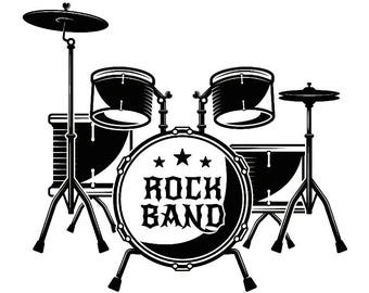 Drum Set #1 Drums Drummer Musical Instrument Rock Music Band .SVG .EPS Instant Digital Clipart Vector Cricut Cutting Download Printable File