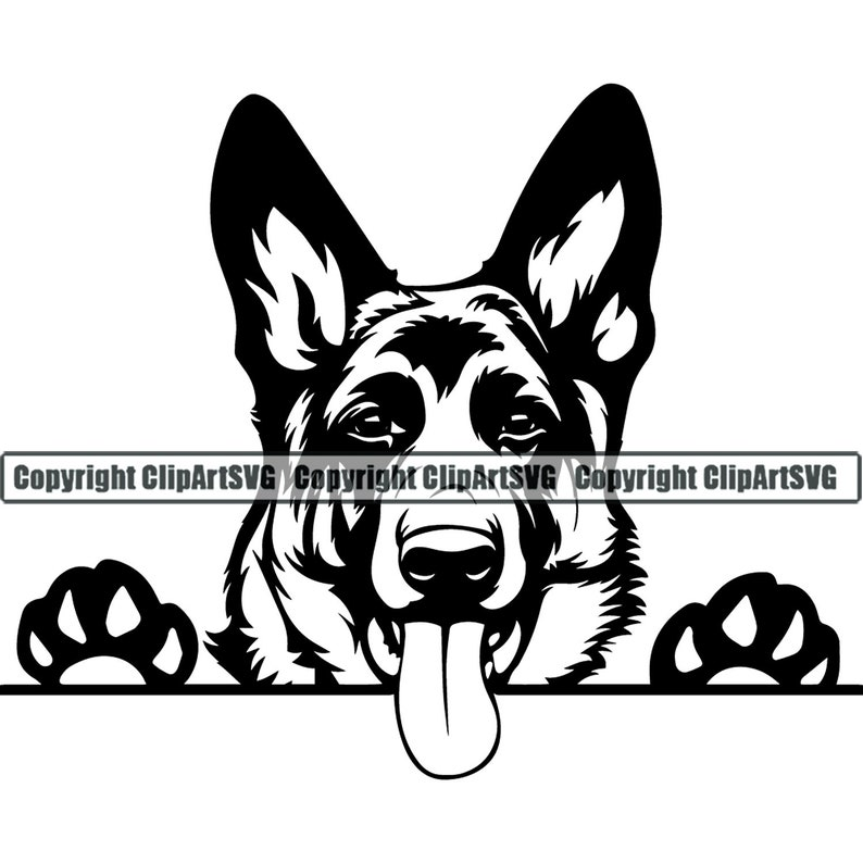 German Shepherd #24 Peeking Smiling Dog Breed K-9 Pet Police Cop Law Enforcement Pedigree Logo .SVG .PNG Clipart Vector Cricut Cut Cutting photo