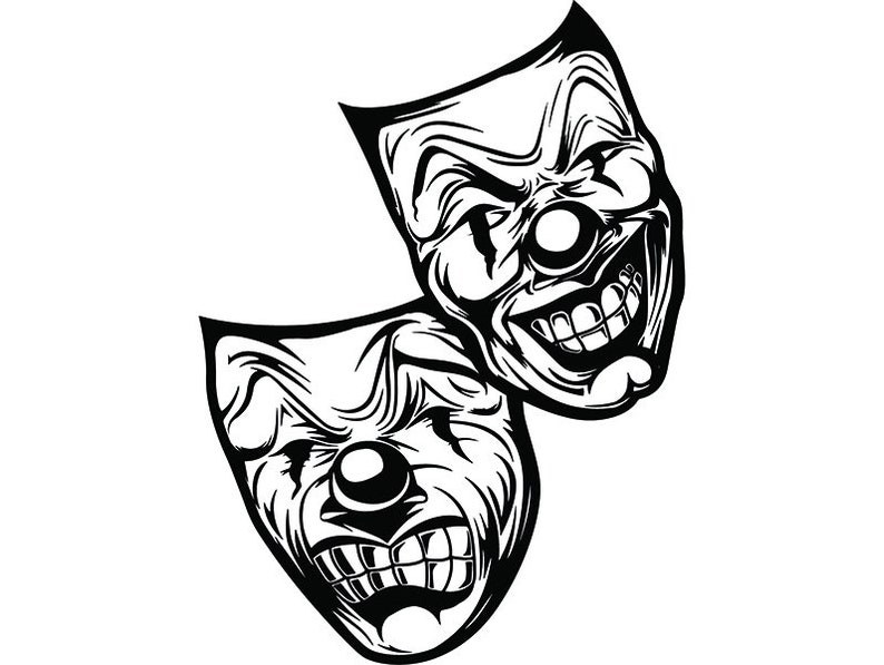 Happy Sad Masks 4 Laugh Now Cry Later Clown Face Gangster