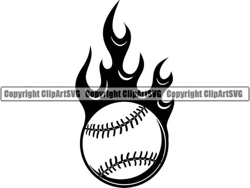 FLAMING BASEBALL Decal//Sticker ball bat #2