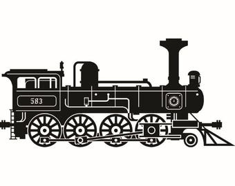 Steam Engine #2 Train Locomotive Vintage Railroad Track Transportation Logo .SVG .EPS .PNG Digital Clipart Vector Cricut Cut Cutting File