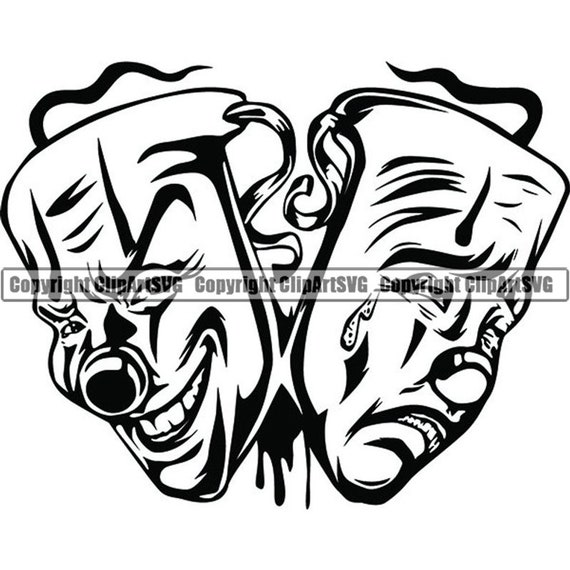 Happy Sad Masks 8 Laugh Now Cry Later Clown Face Gangster Biker Thug Tattoo Illustration Theater Svg Png Clipart Vector Cricut Cut Cutting