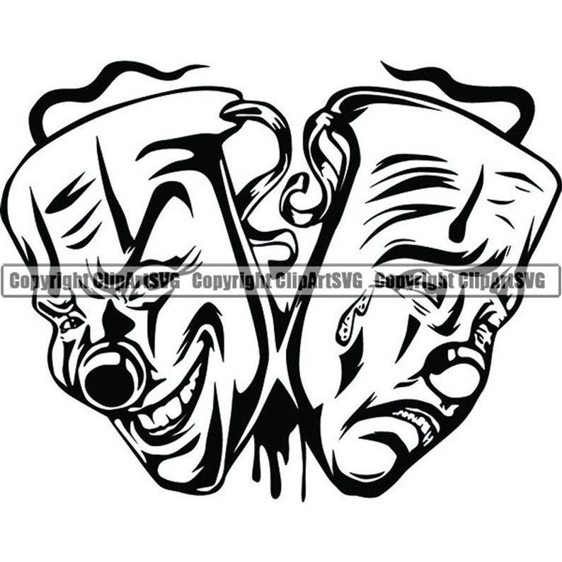 Happy Sad Masks 8 Laugh Now Cry Later Clown Face Gangster Biker Thug Tattoo Illustration Theatersvg Png Clipart Vector Cricut Cut Cutting