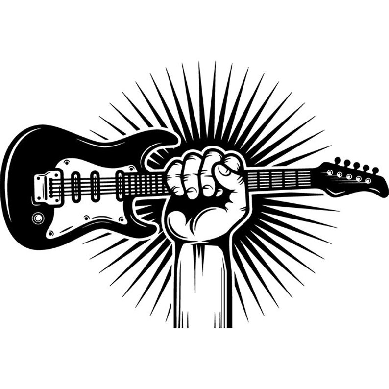 Guitar Logo 18 Hand Holding Electric Electrical Musical