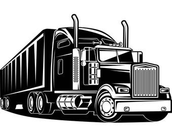 Truck Driver #2 Trucker Big Rigg 18 Wheeler Semi Tractor Trailer Cab Flat Bed Company Trucking Logo .SVG .EPS .PNG Vector Cricut Cut Cutting