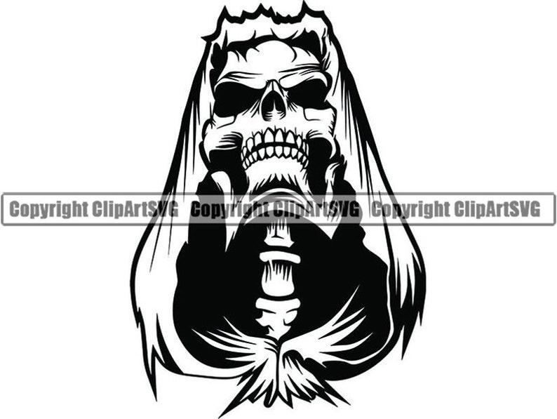 Grim Reaper #18 Skull Death Sickle Evil Kill Killer Grim Horror Ghost  Tattoo Skeleton Bone Logo  SVG  PNG Clipart Vector Cricut Cut Cutting