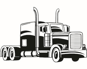 Truck Driver #8 Trucker Big Rigg 18 Wheeler Semi Tractor Trailer Cab Flat Bed Company Trucking Logo .SVG .EPS .PNG Vector Cricut Cut Cutting