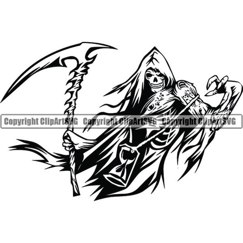 Grim Reaper #1 Skull Death Sickle Evil Kill Killer Grim Horror Ghost Tattoo  Skeleton Bone Logo  SVG  PNG Clipart Vector Cricut Cut Cutting