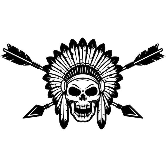 bf13a674198f9 Indian Logo 1 Native American Warrior Skull Axe Headdress | Etsy