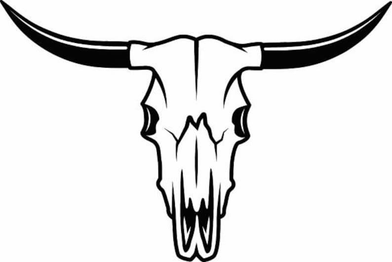 best service f8413 a7e93 Bull Skull 1 Skeleton Bones Horns Cowboy Country Western Cow   Etsy