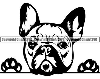 French Bulldog #29 Peeking Paws Cute Tongue Dog Breed K-9 Animal Pet Puppy Canine Pedigree Logo .SVG .PNG Clipart Vector Cricut Cut Cutting
