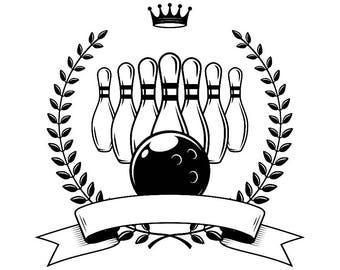 Bowling Logo #10 Ball Pin Sports Bowl Game Bowler Alley Strike Tournament Competition League Logo .SVG .EPS .PNG Clipart Vector Cricut Cut
