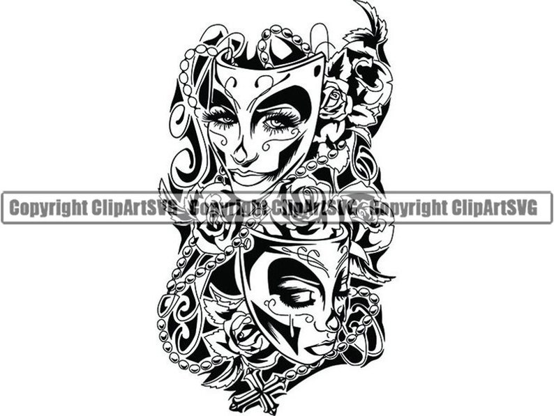 Happy Sad Masks 1 Laugh Now Cry Later Clown Female Woman Face Gangster Biker Thug Tattoo Theatersvg Png Clipart Vector Cricut Cut Cutting