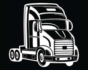 Truck Driver #35 Trucker Big Rigg 18 Wheeler Semi Tractor Trailer Cab Flat Bed Company Trucking Logo.SVG .EPS .PNG Vector Cricut Cut Cutting