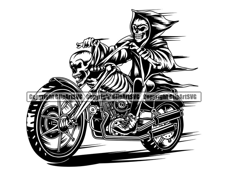 Grim Reaper Skull Death Gun Evil Kill Killer Grim Horror Hell Ghost Tattoo Skeleton Bone Biker Logo SVG PNG Clipart Vector Cut Cutting File photo