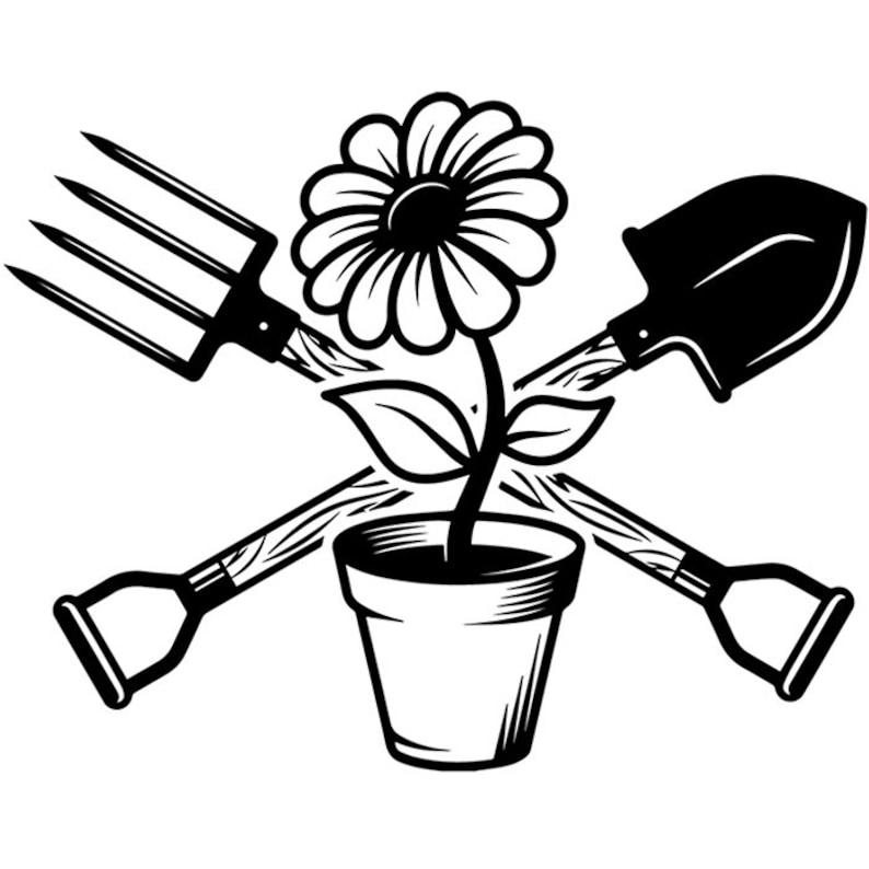 Gardening Logo 2 Shovel Spading Fork Dirt Soil Nature Garden
