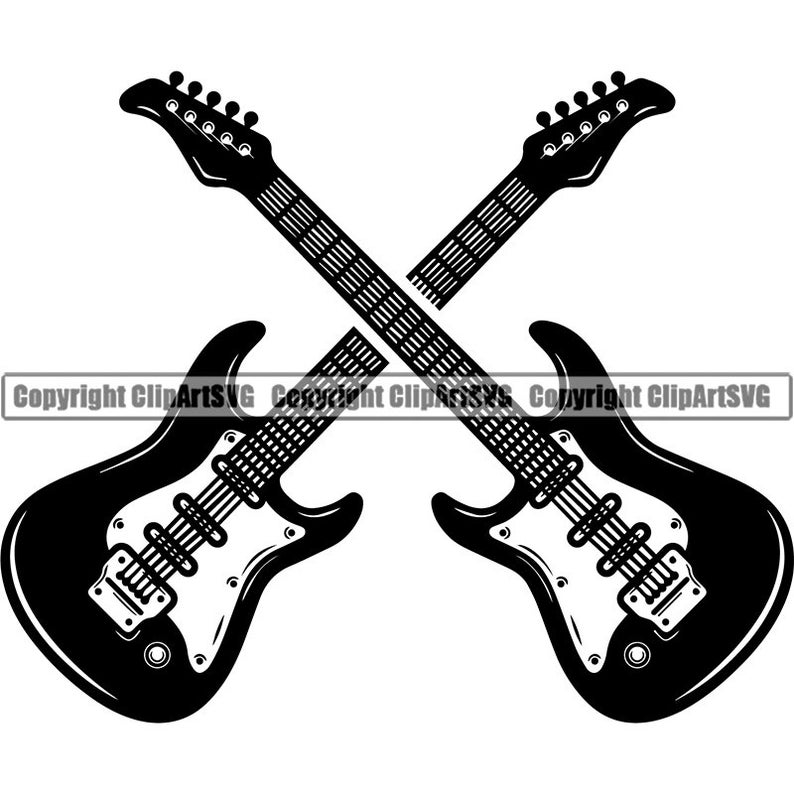 Guitar Logo 13 Pick Electric Electrical Musical Instrument Strings Rock N Roll Music Band Svg Eps Png Clipart Vector Cricut Cutting File