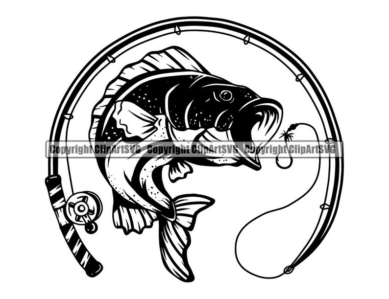 Bass Fishing Logo Fish Pole Fresh Salt Water Lake River Ocean Deep Sea Trout Sport Game Rod Reel Boat .SVG .PNG Clipart Vector Cut Cutting photo