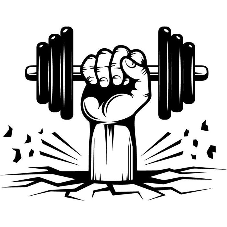 Bodybuilding Logo 82 Hand Holding Dumbbell Weight Plate Bar  331543cd770ff