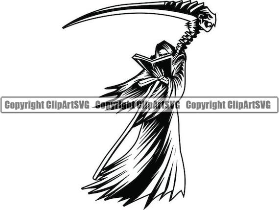 Grim Reaper #15 Skull Death Sickle Evil Kill Killer Grim Horror Ghost  Tattoo Skeleton Bone Logo  SVG  PNG Clipart Vector Cricut Cut Cutting