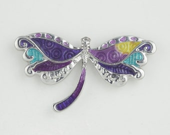Purple Dragonfly Needleminder / Silver and Purple enamel Dragonfly Needleminder