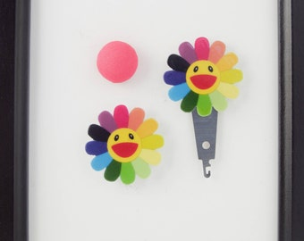 Rainbow Flower Needleminder / Smiling Flower Needleminder / Happy Flower Needleminder