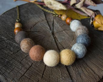 """Felted beads """"In the autumn garden"""""""