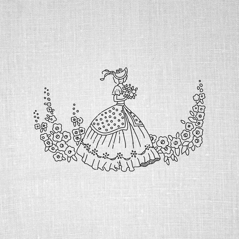 photograph about Printable Embroidery Patterns titled Hand Embroidery Style and design PDF Hand Embroidery Practice Printable Sewing Hoop Artwork Traditional Duplicate Go Embroidery Habit Crinoline Woman