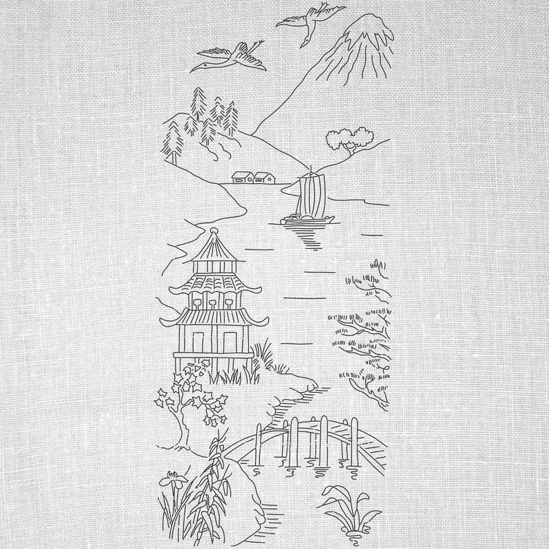 photo relating to Printable Embroidery Transfer Paper referred to as Oriental Village, Landscape, Hand Embroidery, PDF Habit, Basic Shift Routine, Embroidery Structure, Printable, Wall Artwork