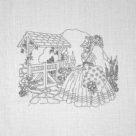 Hand Embroidery Vintage Pdf Pattern Crinoline Lady Embroidery Etsy
