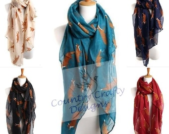 Beautiful fox print ladies scarf shawl infinty scarf. Free uk delivery